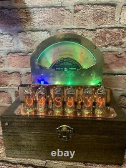 Nixie Clock IN-14 Tubes. Steampunk Copper, Brass & Glass! Vintage Weston 264