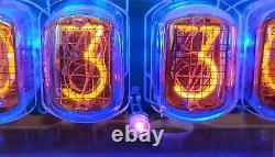 Nixie Clock Vintage IN-12 Tubes Acrylic Transparent Case Blue Backlight Arduino