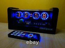 Nixie Clock with 4 LC-513 tubes blue led & black mat case & alarm & remote