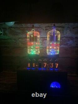 Nixie IN-14 Tube Steampunk Clock. 2 Eimac 2-150D, 24 RGBs. Ever Changing Colors