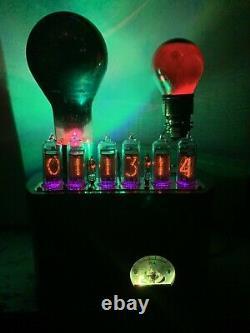 Nixie IN-14 Tube Steampunk Clock. 2 Very Old Tungar Tubes, Rgb Lit Ammeter