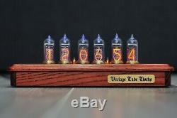 Nixie Tube Clock 6X IN-14 Desk Vintage Retro Nixie Table Wooden Clock Elegant W