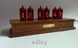 Nixie Tube Clock Z573 Wooden Oak Case Steampunk Watch