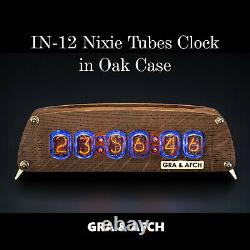 Nixie Tubes Clock on IN-12 Oak Vintage Wooden Case Temp. F/C 12/24H Slot Machine