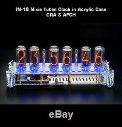 Nixie Tubes Clock on IN-18 in Big Acrylic Case with Columns