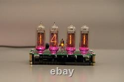 Nixie clock 4 vintage tube IN-14 RGB thermometer plus