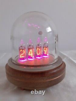 Nixie clock IN14 tubes Glass Dome wooden case Monjibox Series
