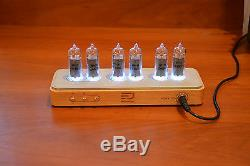 Nixie clock in handmade beech case by Ferradesign. Rare USSR's IN14-tubes