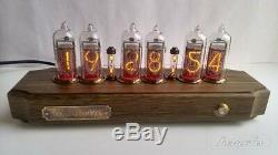 Nixie tube Clock with IN-14 in antique oak case from RetroNix