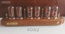 Nixie tube Clock with IN-18 in dark oak-tree case from RetroNix