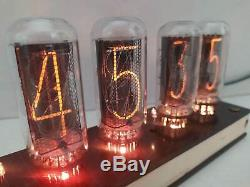 Nixie tube clock IN-18 WITH TUBES and CASE REMOTE TEMPERATURE MEMORY