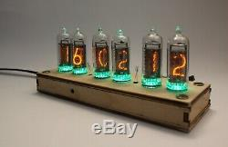 Nixie tube clock include IN-14 tubes and plywood case retro vintage