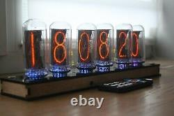 Nixie tube clock include IN-18 tubes and plywood clear case retro vintage