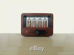 Nixie tube clock with 4 IN-14 tubes in wooden case
