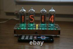 Nixie tube clock with 4x IN-14 tubes plywood clear Remote Temperature