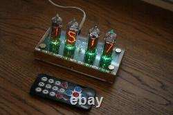 Nixie tube clock with 4x IN-14 tubes wooden clear Remote Temperature