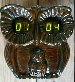 OWL USSR VFD tube ceramic wall alarm clock from 80's nixie