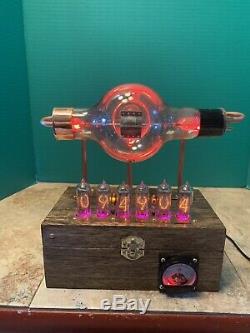 Refurbished Nixie Clock IN-14 Steampunk. RGB Lit 852 Tube. Ezekiel Ring Model