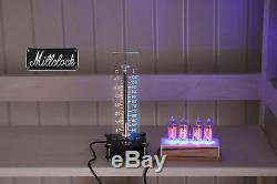 Set Of The In-14 Nixie Clock Wood & In-13 Nixie Tube Thermometer Fully Assembled