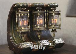 Steampunk Nixie clock tube wood, vegetable tanning leather, brass, bronze, in-14