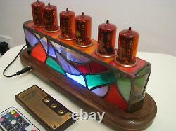Tiffany Stained Glass by JoVitree Z566M tubes Clock Nixie Monjibox