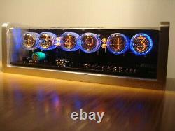 Unique retro 6xLC-513 Nixie Tubes Clock CNC machined aluminum case alarm retro