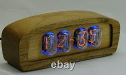 Wooden nixie clock in12 tube, blue backlight