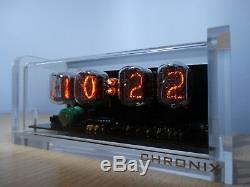 4 X In-12 Tubes Nixie Horloge Acrylique Cas & Led Rétro-éclairage Blanc Rétro Steampunk