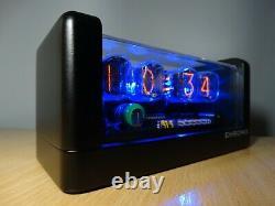 4xin-12 Nixie Tubes Horloge Bleu Led Rétro-éclairage Et Boîtier Noir Mat Et Alarme Rétro