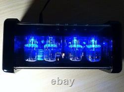4xin-12 Nixie Tubes Horloge Bleu Rétro-éclairage Led Et Alarme Steampunk Vintage Rétro
