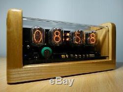 4xin-12 Tubes Nixie Horloge Cendres Cas Alarme Et Jaune Rétro-éclairage Rétro Steampunk Conduit