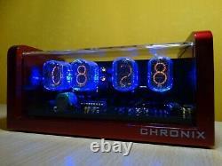 4xin-12 Tubes Nixie Réveil Et Télécommande Et Boîtier En Aluminium Rouge Et Bleu Led