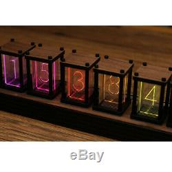 6 Chiffres Noyer Rgb Led Tube Clock Diy Kit Rétro Bureau Étagère Horloge Pas Nixie Horloge