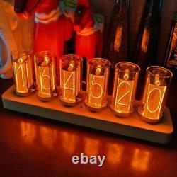 6-digit Led Glow Tube Alarm Solid Wood Nixie Tube Réveil Assemblé Cadeau Nouveau