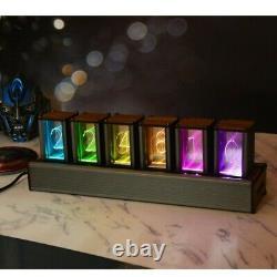 6-digit Rgb Glow Tube Clock Led Nixie Tube Clock Adjustable Colors Home Decor