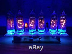 Big Nixie Tubes Assemblés Horloge De Bureau Et Calendrier Vintage In-14 X 6 Bleu Russe