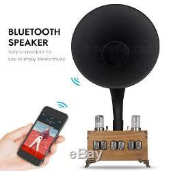 Bluetooth Vintage En Bois Président Corne In-12 Nixie Tube Clock Chargeur Sans Fil