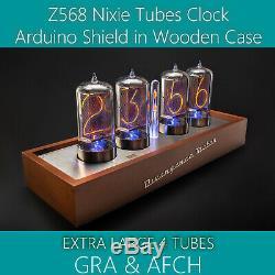 Case Z568 Shield Arduino Nixie Tubes Horloge En Bois Extra Large 4 En Option Tuyaux
