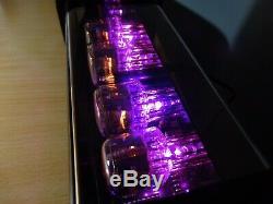 Chronix 4 X In-12 Tubes Nixie Réveil Avec Boîtier Noir Et Rétroéclairage Led Rose
