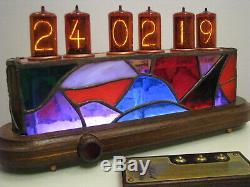Ciucas Nixie Horloge Z566m Tiffany Stained Glass Case Monjibox