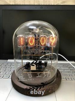 Classic Vintage In-12 Nixie Tube Clock Kit Diy / Assemblé Avec Boîtier En Verre Rond