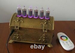 De Vintage Brass Cas Nixie Horloge In14 Rgb Monjibox