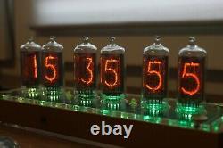 Horloge À Tube Nixie Avec In-8-2 (fine 5) Bureau En Bois Clair À Distance Température Automatique