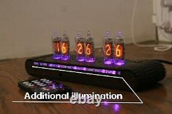 Horloge À Tube Nixie Avec Tubes Miniatures In-16 (fin 5) En Bois De Rose Modes De Nuit À Distance