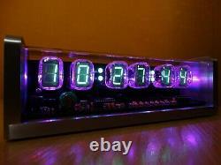 Horloge Nixie Avec 6 Tubes Iv22 Vfd, Télécommande, Boîtier En Aluminium, Led Rgb, Alarme