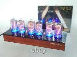 Horloge Nixie Avec 6 Tubes Z566m Et Boîtier En Acajou Teinté Et Led Bleu & Alarme In-18