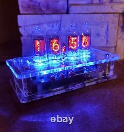 Horloge Nixie Avec Tubes Z573 & Point Au Néon / Boîtier Transparent Et Rétro-éclairage Bleu
