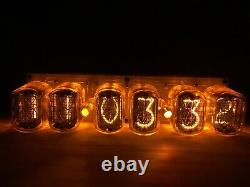 Horloge Nixie In12 6tube Ambre Tubes Vintage Assembled Retro Clock No Boîte En Bois