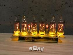 Horloge Nixie In14 6tube Tubes Jaune Vintage Assemblé Retro Clock No Boîte En Bois