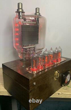 Horloge Nixie In-14 Steampunk. Cuivre, Laiton Et Verre ! Rgb Lit 833a Tube & Ammeter
